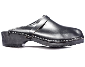 Scandinavian CLOGS Men's 70s Leather Wood Platform Mules Black Traditional Swedish Sandals Chunky Summer Shoes US men 9 Eur 43 Uk 8.5