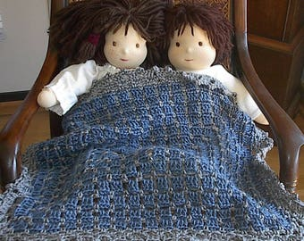 Doll Blanket Crocheted Afghan Blanket for 14 to 18 inch Dolls in Country Blue with Gray Heather Trim - 16 x 20 inches Ready to Ship