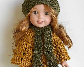 "14.5"" Doll Poncho Beret and Scarf Set in Gold and Green Handmade and Crocheted and Handmade to fit the Wellie Wishers and similar 14"" dolls"