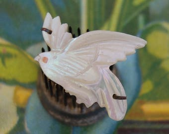 Vintage Bird Pin Mother of Pearl Carved