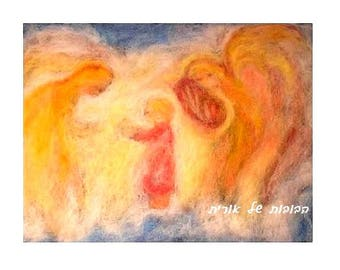 Angels playing the lyre-blessing card prints of my wool painting