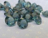 24 Vintage Transparent Montana Blue 6mm Glass Jewels (1-48-1)
