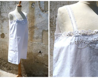 Vintage Antique  French Edwardian 1900 white cotton dress underdress nightgown  handmade embroideries size  M/L