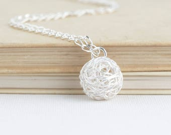 Ball of Yarn Necklace - Gift for Knitter - Knitting Gift - Sterling Silver - Gift For Mom - Knitting - Silver Yarn Charm Necklace
