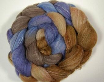"Roving (Top) braid of spinning fiber - Targhee 80 silk 10 Bamboo 10 blend  colorway ""Brass Octopus"""