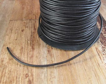 Ultra Soft Black Leather, Black Round Leather, 2mm, 1 Foot, Cord for Wrap Bracelets and Jewelry Making (L-Mix19f)