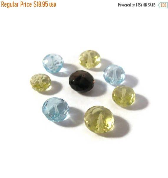 SALE 50% off - 8 Gemstone Beads, Mix of Eight Rondelles, Blue Topaz, Lemon & Smoky Quartz, Sparkling Faceted Rondelles, 7mm - 8mm (L-Mix2)