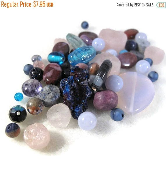 Summer SALEabration - Gemstone Bead Mix, Purple & Blue Gemstone Grab Bag, Beads for Making Jewelry, Assorted Shapes and Sizes (L-Mix1a)
