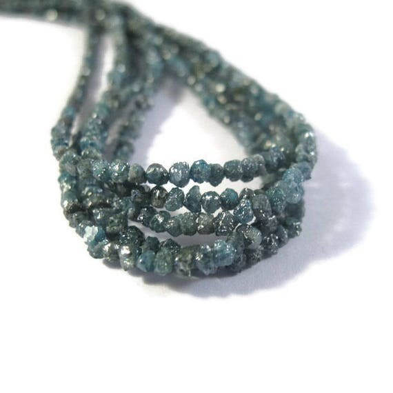 Teal Blue Rough Diamond Chips, 4 Inches of Raw Diamond Beads, 1.5mm - 2mm Diamond Beads, Drilled Bead, Jewelry Supplies (Luxe-Di1)