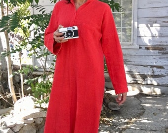 Vintage 70s dress,beach,vacation,red,ethnic,Indian,long,midi,belt,cotton,comfort,casual,boho,hippie,novelty,soft,cozy,M,L,country chic