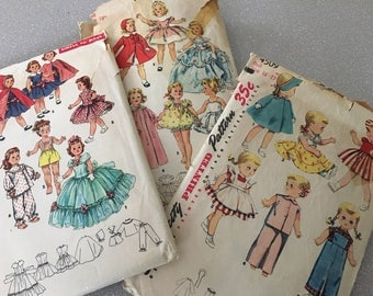 "Vintage 1950s Doll Pattern Collection Simplicity 1405 4509 1336 16"" 17"" 18"" Sewing Lot"