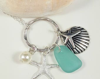 Sea Glass Jewelry Sea Glass Necklace Teal Sea Glass Beach Glass Jewelry N-537