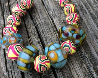 Combined Set of Handmade Lampwork Glass Beads AND Handmade Polymer Clay Beads for Jewelry Making and Design