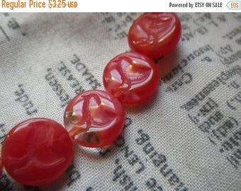 SALE 20% Off Little Bird Carnelian Red 10x3mm Pressed Glass Disc Beads 15 Pcs