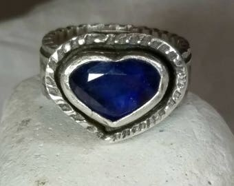 Sapphire  Heart Statement ring, Chunky sterling silver and sapphire ring, September birthstone ring