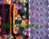 FREE Ship DIY Fabric + Notions Autumn Bouquet & Purple Relief for 1 BRA + Panty by Merckwaerdigh