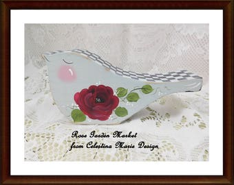 Red Rose Bird Shelf Sitter, Aqua, Swiss Dots and Shabby Cottage Design and Stately Checked, ECS