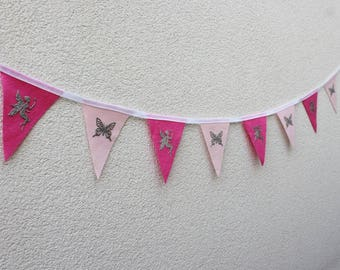 Fairy and Butterfly Bunting - Pink Bunting - Fairy Bunting - Butterfly Bunting - Ready to ship