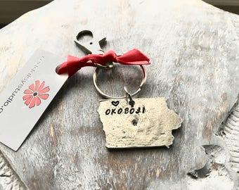 Sale! Okoboji Key Ring - Hand Stamped Okoboji Key Ring -Okoboji Keychain - Okoboji - Lake