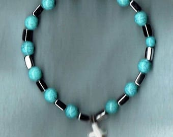 Faux Turquoise One Decade Stretch Rosary Bracelet