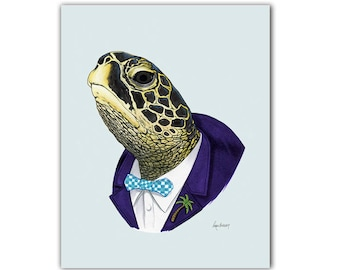 Sea Turtle art print - Animal art - Nursery art - Nursery decor - Animals in Clothes - Children's art - Ryan Berkley Illustration 8x10