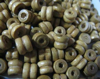 400 Tan Wood Bead  5x7mm Art Wood Beads Jewelry Craft Beads Findings Beads