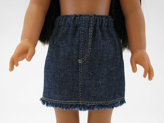 """Fits Like Wellie Wisher  - 14"""" Doll Clothes - American Doll - 14 Inch Doll Clothes - Girl Denim Skirt - Fray Doll Skirt - A Doll Boutique"""