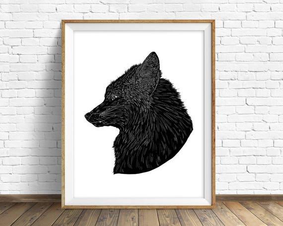 "animal wall art, fox wall art, black and white art print, nursery wall art, modern nursery prints, large art, large wall art - ""Fox Fang"""