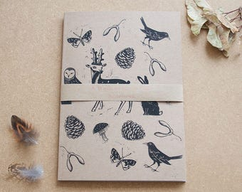 A Walk in the Woods notebook, woodland print notebook
