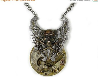 Steampunk Jewelry Necklace Mens Pocket Watch POST APOCALYPTIC Silver Skeletal Butterfly Bronze SKULL Rocker, Burning Man - by edmdesigns