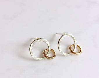 Mixed metal double circle post earrings