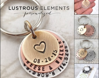 Valentine's gift, Anniversary gift personalized keychain or personalized necklace, custom keychain, wedding gift, couples gift