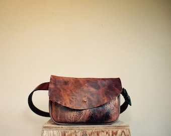 SAMPLE///Hip Pouch///Fanny Pack///Festival Pouch with Vintage Leather Belt