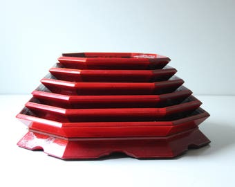 Vintage Asian red lacquered stacking serving tray or tea tray; set of 6