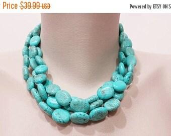 ON-SALE Multiple Strand Turquoise Necklace - Three Strand, Magnesite Turquoise Jewelry, Statement Neckace, Gemstone Handmade Jewelry