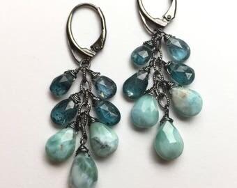 Larimar Earrings, Apatite Earrings, Gemstone Earrings, Blue Earrings, Aqua Earrings, Caribbean Blue, Larimar Jewelry, Boho, Rocker Chic
