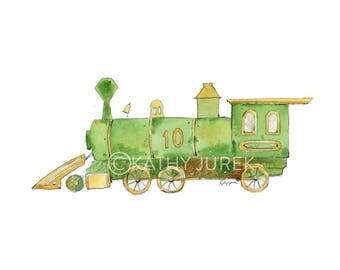 Green Train Print - Train Nursery Print - Train Print - Locomotive print - Boys Train Print