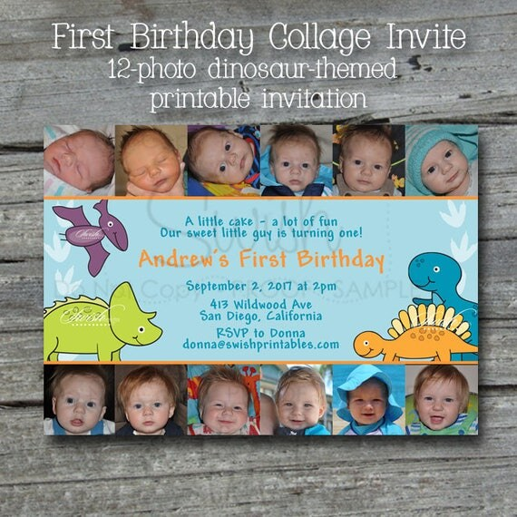 Dinosaur First Birthday Invitation Printable 1st Birthday