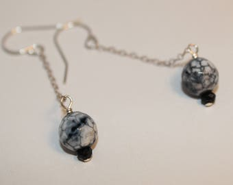 Black and White Agate Earrings Spinel Accent Sterling Silver Chain Shimmer Shimmer Ready To Ship One of a Kind Christmas Gift