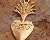 Flaming Heart Milagro in Bronze, R-124