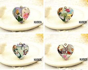1pcs Alice in wonderland Heart Locket Necklace, Alice Locket Charm Pendant, Antique Bronze Brass Locket