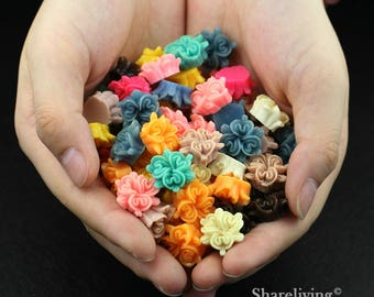 Clearance Sale -  Lots of 100pcs Mixed Color 3D Resin Flower Cabochons Charms  -- CLS004F