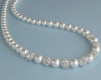 Pearl Bridal Necklace, Classic Single Strand Pearls with Crystal Rhinestones,  Crystal and Pearl Necklace, Wedding Jewelry by JaniceMarie