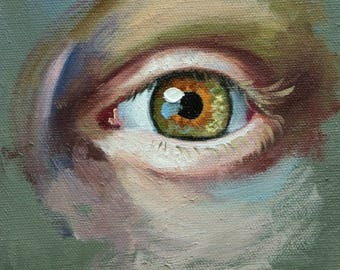 Eye 2 6x6 inch original portrait figure oil painting by Roz