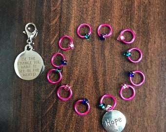 Be The Change Ring Stitch Markers, Ring Stitch Markers, ring markers, notions, clip on charm, bag charm, planner charm, progress keeper