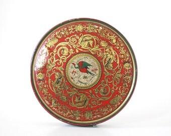 Red Gold Tin Box, Canco Candy Tin, Antique Bird Tin, Phoenix Rococo Style Storage Container, Metal Box, Boho Bohemian Decor, Gift Box