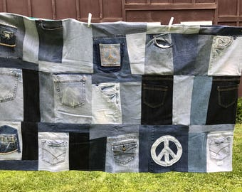 Quilt Recycled Denim Blue Jeans Throw Retro