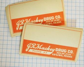 Vintage Pharmacy Label  Orange and White Bottle Label   1940s Pharmacy Label for Prescription Bottle