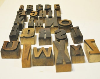 Vintage Wood Type Letterpress Mixed Font Alphabet  26 Letters