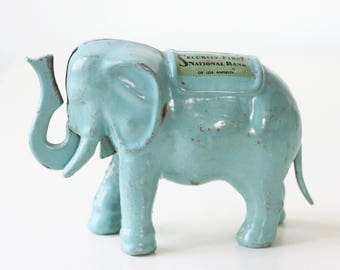 Vintage Elephant Bank, Security First National Bank, Los Angeles, Blue Elephant